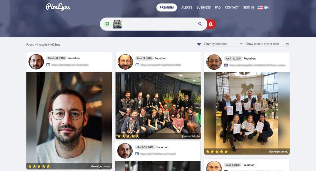 Eine Suche nach Bildern mit dem Gesicht von Daniel Gerber.