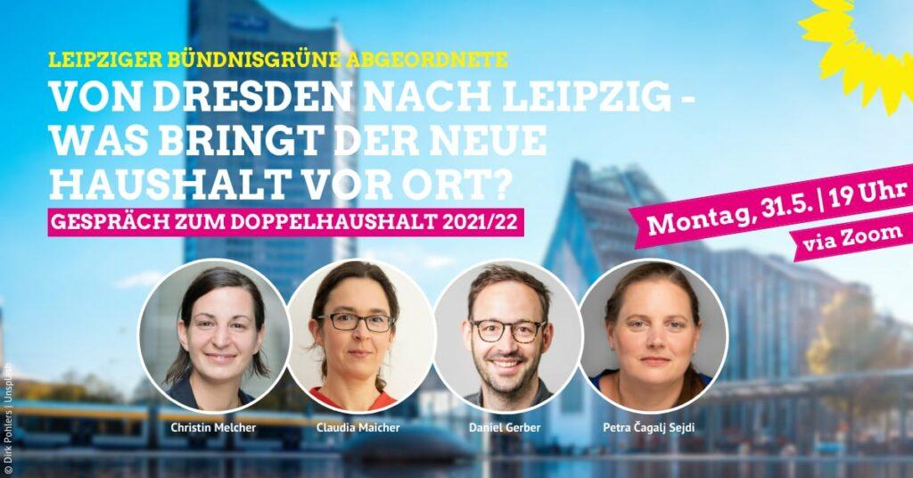 Sharepic zum Online-Gespräch zum Doppelhaushalt 2021/22